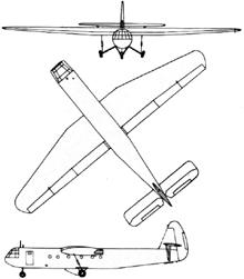 Plan 3 vues du Airspeed A.S. 51 Horsa