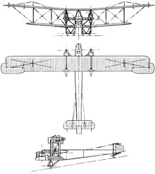 Plan 3 vues du Handley Page Type O/100-O/400
