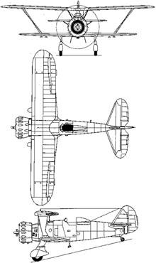 Plan 3 vues du Henschel Hs 123
