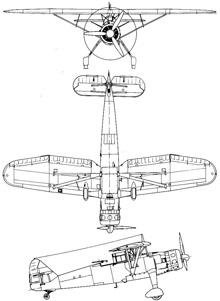 Plan 3 vues du Henschel Hs 126