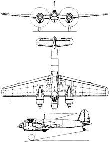 Plan 3 vues du Henschel Hs 129