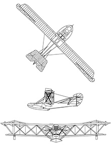 Plan 3 vues du Curtiss HS-2L