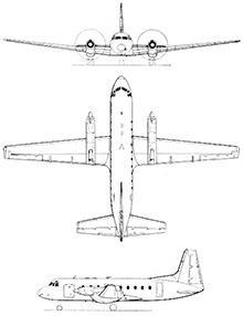 Plan 3 vues du Hawker-Siddeley HS-748 & HS-780 Andover