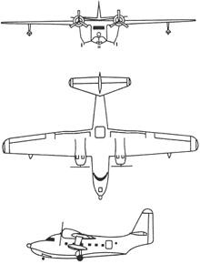 Plan 3 vues du Grumman HU-16 Albatross