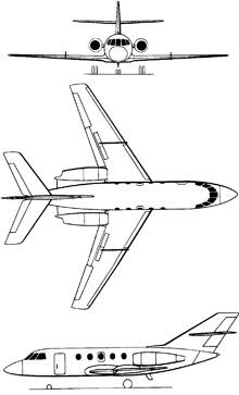 Plan 3 vues du Dassault HU-25 Guardian