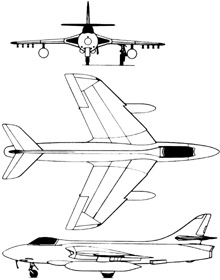 Plan 3 vues du Hawker  Hunter