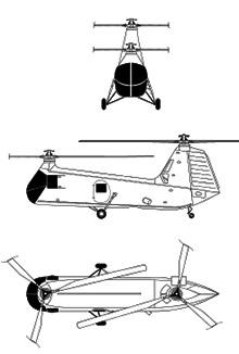 Plan 3 vues du Piasecki HUP Retriever / H-25 Army Mule