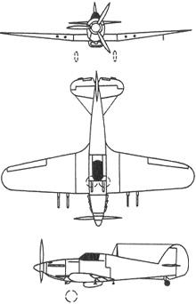 Plan 3 vues du Hawker  Hurricane