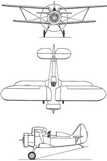 Plan 3 vues du Polikarpov I-15