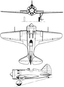 Plan 3 vues du Polikarpov I-16 Ishak