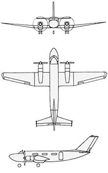 Plan 3 vues du DINFIA IA 50 Guarani