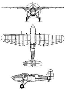 Plan 3 vues du Ikarus IK-2