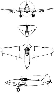 Plan 3 vues du Ilyushin Il-10 'Beast'