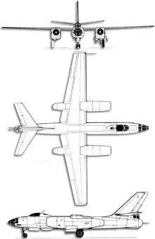 Plan 3 vues du Ilyushin Il-28  'Beagle'