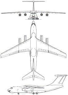 Plan 3 vues du Ilyushin Il-76  'Candid'
