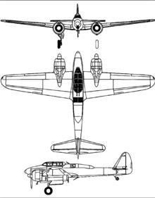 Plan 3 vues du Nakajima J1N Gekko 'Irving'