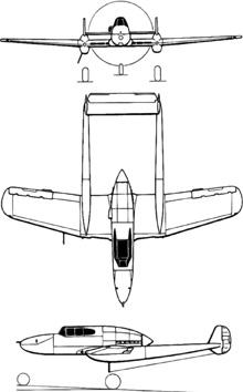 Plan 3 vues du Saab J21