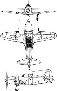Plan 3 vues du Mitsubishi J2M Raiden 'Jack'