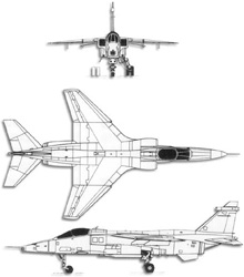 Plan 3 vues du SEPECAT  Jaguar