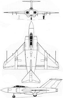 Plan 3 vues du Gloster  Javelin