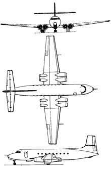 Plan 3 vues du Avro Canada C-102 Jetliner