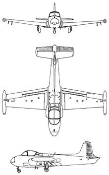 Plan 3 vues du Hunting Percival P.84 Jet Provost