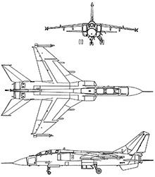 Plan 3 vues du Xian JH-7 'Flounder'