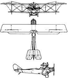 Plan 3 vues du Curtiss JN-4 Jenny