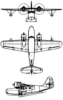 Plan 3 vues du Grumman JRF/OA-9 Goose