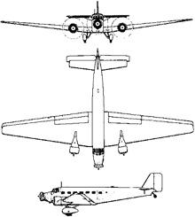 Plan 3 vues du Junkers Ju 52
