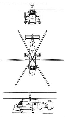 Plan 3 vues du Kamov Ka-25  'Hormone'