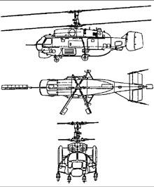 Plan 3 vues du Kamov Ka-27  'Helix'