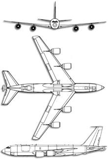 Plan 3 vues du Boeing KC-135 Stratotanker
