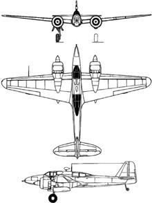 Plan 3 vues du Kawasaki Ki-102  'Randy'