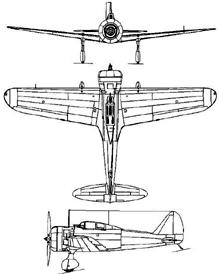 Plan 3 vues du Nakajima Ki-27 Nate 'Clint'