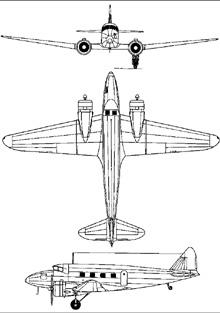 Plan 3 vues du Nakajima Ki-34 Thora