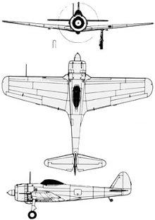Plan 3 vues du Nakajima Ki-43 Hayabusa 'Oscar'