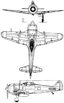 Plan 3 vues du Nakajima Ki-44 Shoki 'Tojo'