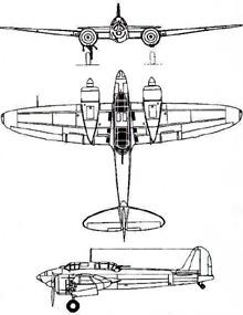 Plan 3 vues du Kawasaki Ki-45 Toryu 'Nick'