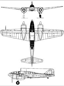 Plan 3 vues du Mitsubishi Ki-46  'Dinah'
