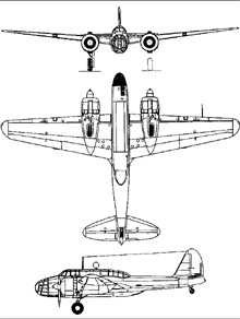 Plan 3 vues du Kawasaki Ki-48  'Lily'