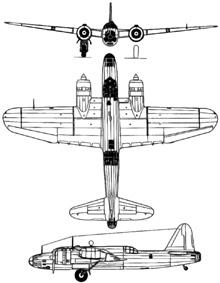 Plan 3 vues du Nakajima Ki-49 Donryu 'Helen'