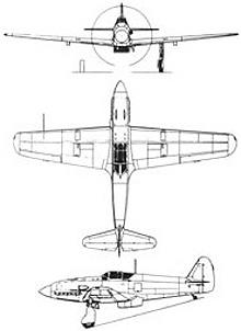 Plan 3 vues du Kawasaki Ki-61 Hien 'Tony'