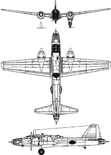 Plan 3 vues du Mitsubishi Ki-67 Hiryu 'Peggy'