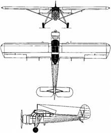 Plan 3 vues du Kokusai Ki-76 «Stella»