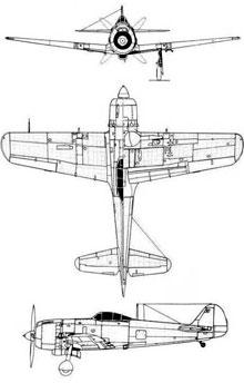 Plan 3 vues du Nakajima Ki-84 Hayate 'Franck'