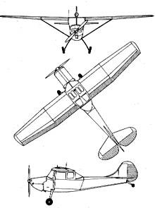 Plan 3 vues du Cessna L-19/O-1 Bird Dog