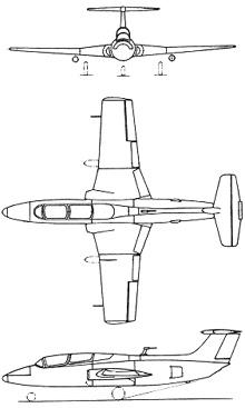 Plan 3 vues du Aero L-29 Delphin