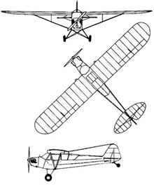Plan 3 vues du Piper L-4 Grasshopper