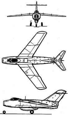 Plan 3 vues du Lavotchkin La-15 'Fantail'